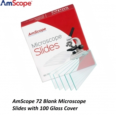 AmScope 72 Blank Microscope Slides with 100 Glass Cover