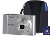 Sony DSC-W800 Silver Camera Kit inc 16GB SD Card and Case