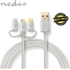 Nedis Braided 3-in-1 USB-A, USB_C, Micro USB Charge Cable