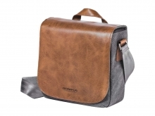 Olympus Tan Brown Leather and Grey Canvas Mini Messenger Bag