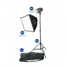 Dorr Studio Flash Kit - 2x150w Heads - Stands and Softboxes With Case