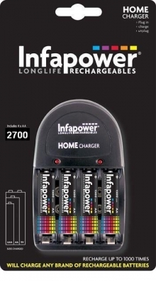 Infapower Battery Charger with 4x AA 2700mAh Batteries