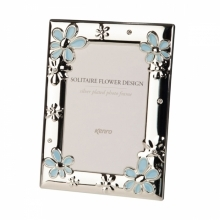 Kenro Solitaire 6x4-Inch Blue Flower Design Photo Frame