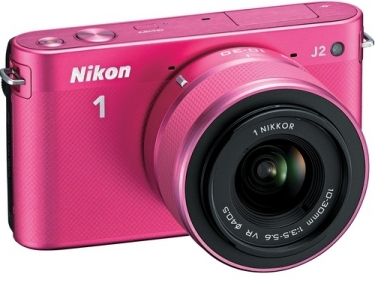 Nikon 1 Mirrorless J2 Digital Camera With 10-30mm VR Zoom Lens Pink