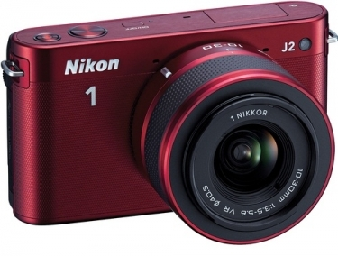 Nikon 1 Digital J2 Camera With 10-30mm and 30-110mm Lenses Red