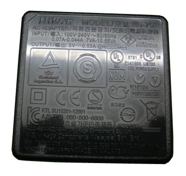 Nikon EH-70P Charging AC Adapter For EN-EL19 Battery