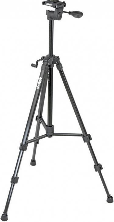 Nikon Full Size Tripod With 3-Way Pan/Tilt Head Black