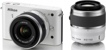 Nikon 1 J1 White Digital Camera With 10-30mm and 30-110mm Lenses