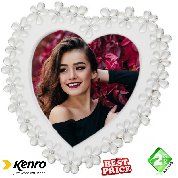 Kenro 4x4 Inch Chloe White Series Heart Photo Frame