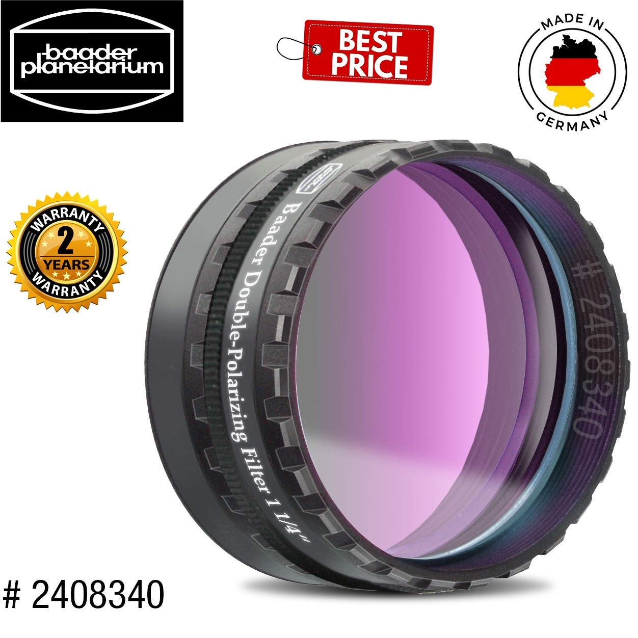 Baader 31.7mm Double Polarizing Filter With Rotating Filter Cell
