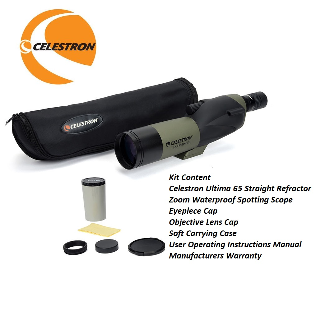 Celestron Ultima 65 Straight Refractor Zoom WP Spotting Scope