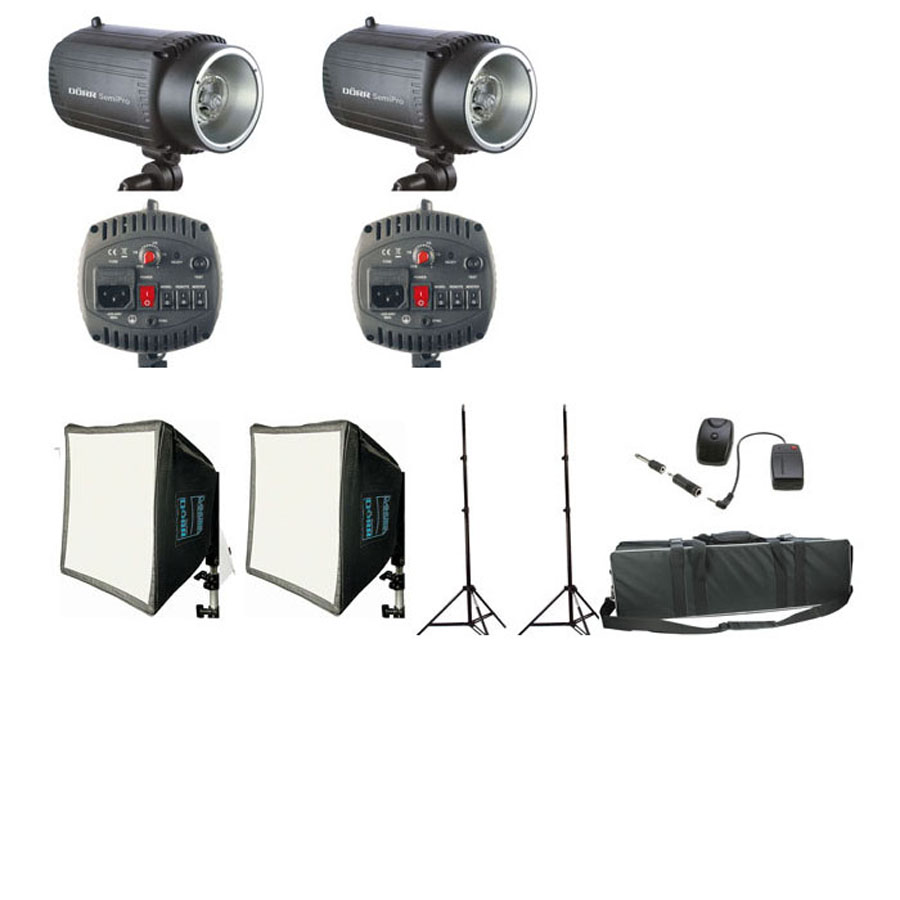 Dorr SemiPro 160Ws Kit With 2 Flashes, 2 Stands and 1 Case