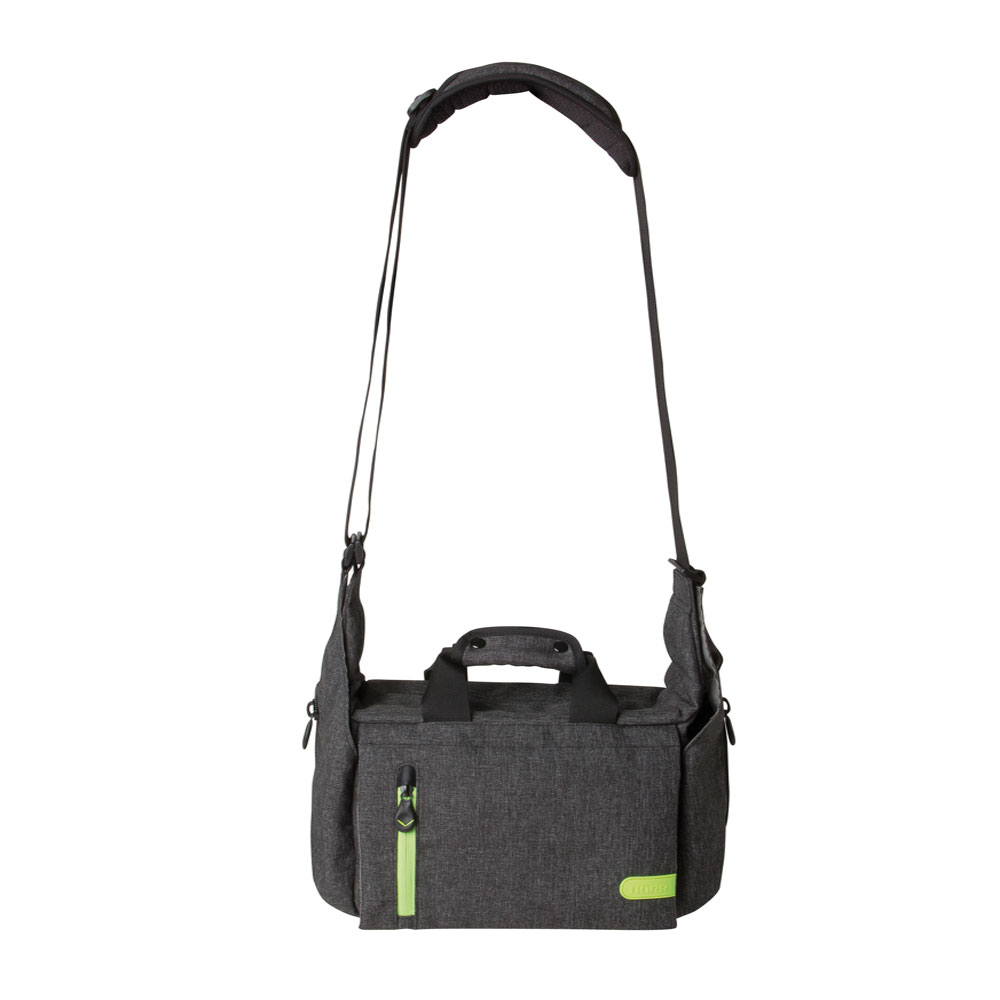 Dorr City Pro Messenger Photo Bag - Medium Grey/Lime