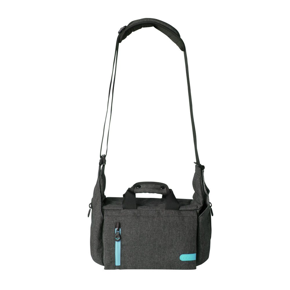 Dorr City Pro Messenger Photo Bag - Medium Grey/Blue