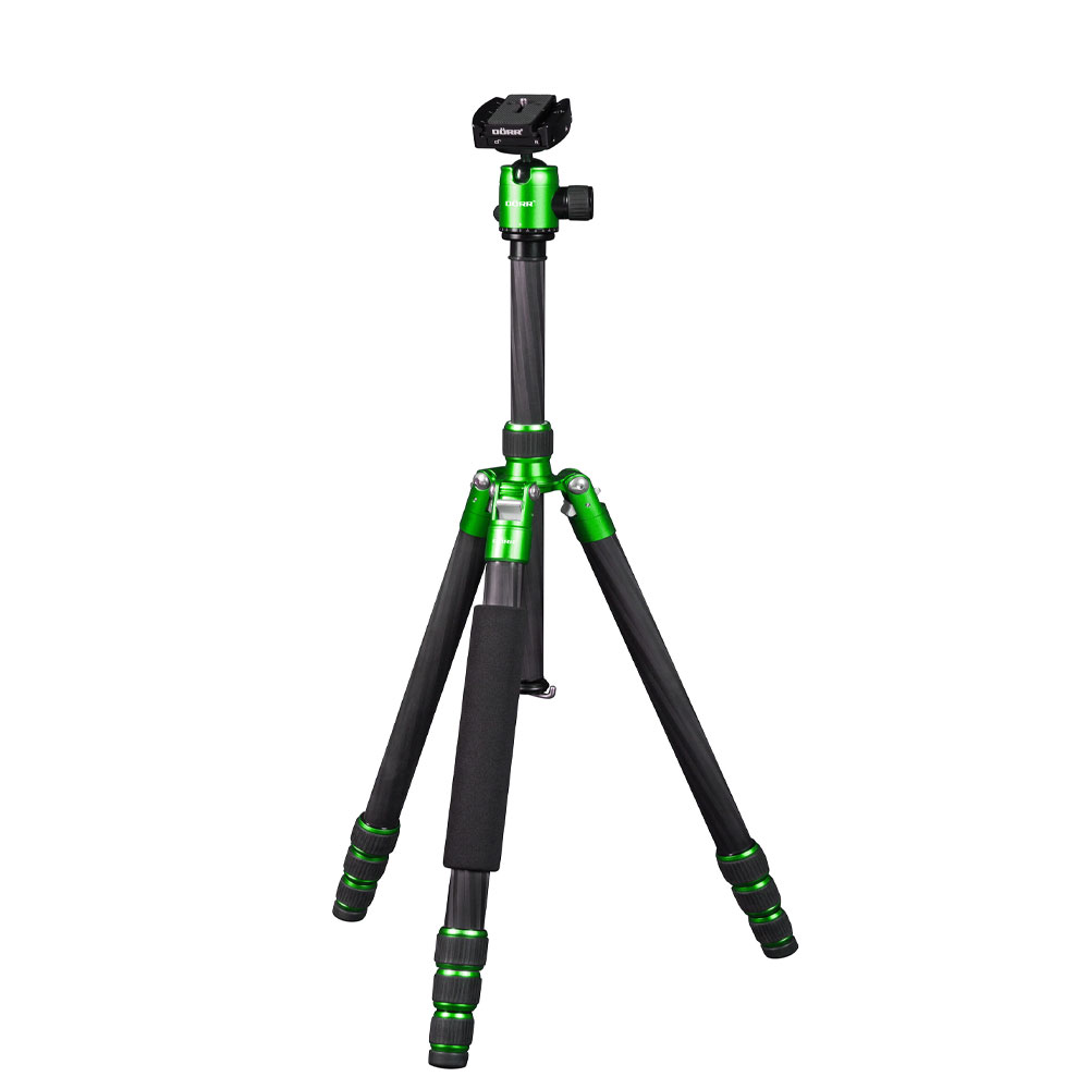 Dorr HQ1635 4 Section Black/Green Carbon Fibre Tripod With Ball Head