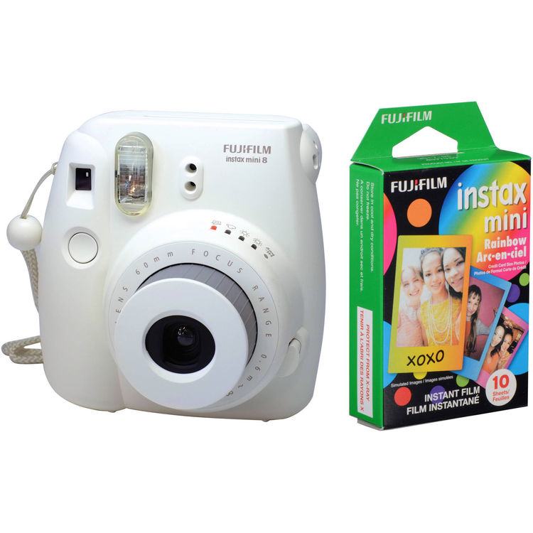 Fujifilm instax mini 8  Film Camera & Rainbow Instant Film Kit(White)
