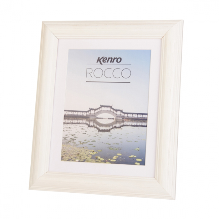 Kenro Rocco Frame 8x10 Inch With Mat 8x6 Inch Photo Frame - White