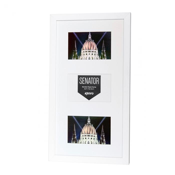 Kenro Senator White Triple Frame With Mat For 3 7x5 Inch Photos