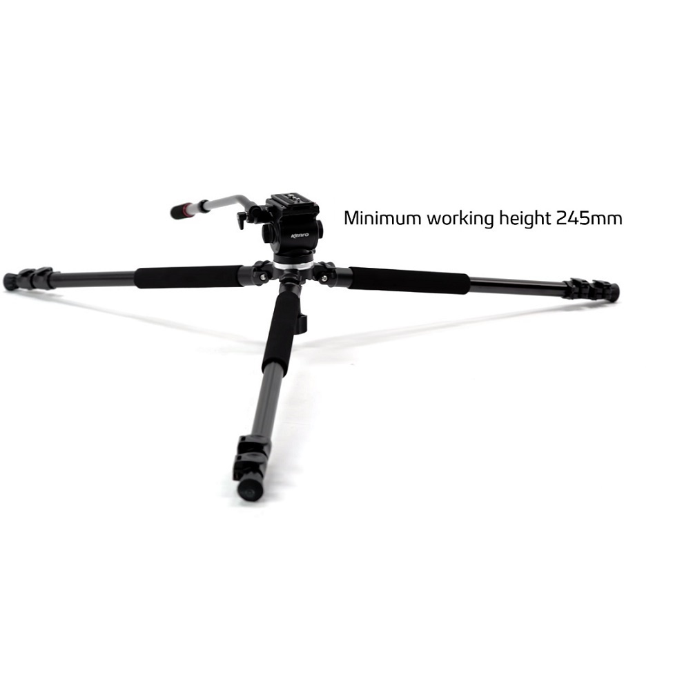 Kenro Standard Video Tripod Kit (Aluminium) with VH01B Fluid Head