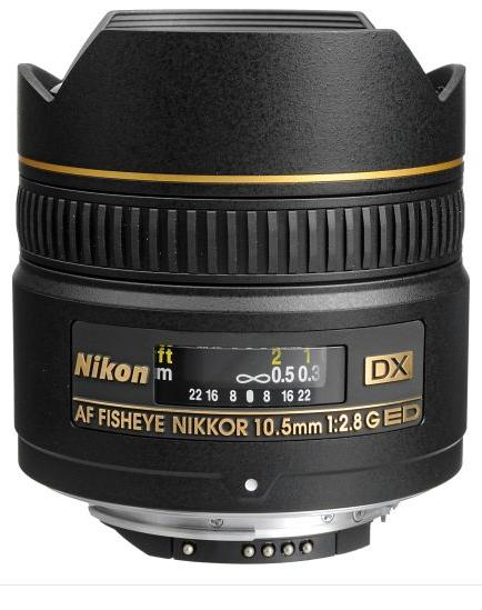Nikon 10.5mm F2.8G ED-IF DX AF Fisheye Lens for Digital SLR Cameras