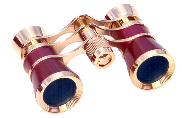 Opera Glasses 3x25 Aida LaScala Optics Binoculars Burgundy Gold