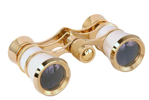 Opera Glasses 3x25 Aida LaScala Optics Binoculars White Gold