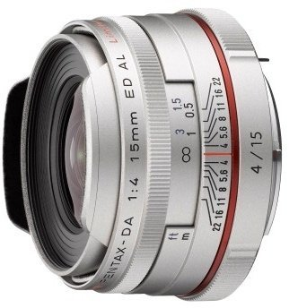Pentax HD DA 15mm F4 ED AL Limited Lens (Silver)
