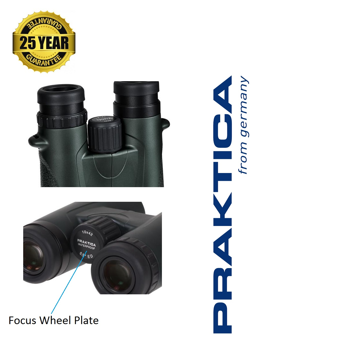 Praktica 10x42mm Marquis ED Waterproof Binoculars - Green